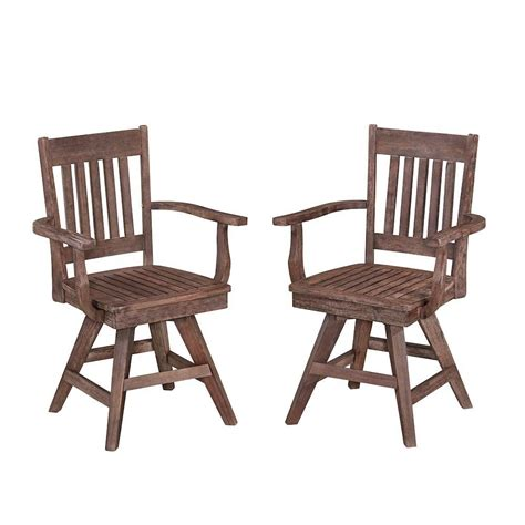 Home Styles Morocco Acacia Wood Swivel Patio Dining Chair