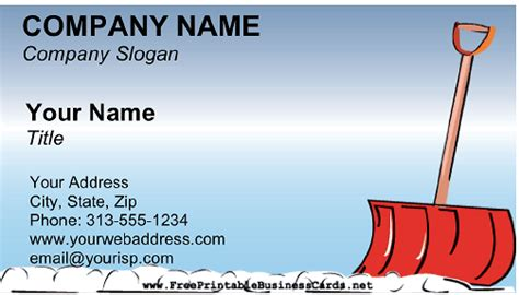snow removal business card
