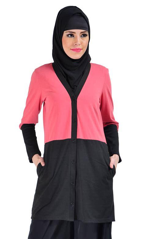 Sakivazra Color Block Tunic Muslim Blouse color block cotton knit cardigan pink shop at discount price islamic clothing