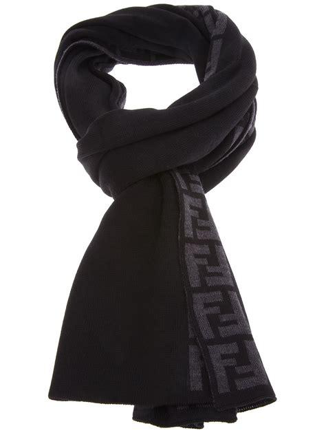 fendi monogram scarf in black for lyst