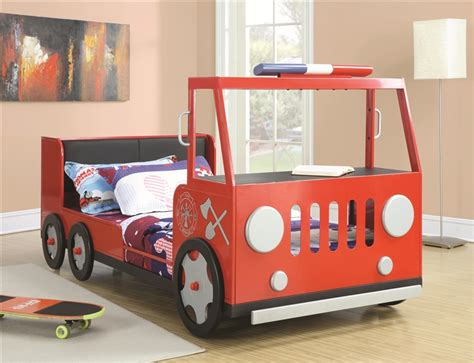 fire truck twin bed twin fire truck bed in red finish by coaster 460010