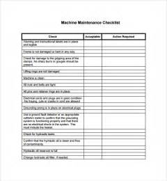 maintenance checklist template sle maintenance checklist template 9 free documents