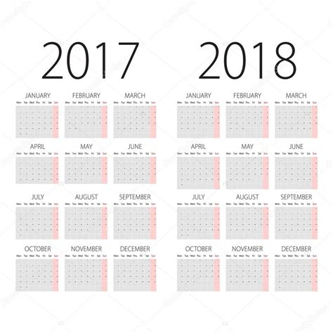 Calendrier Lundi R 233 Sum 233 2017 Et Calendrier 2018 Vector Avec Lundi Le