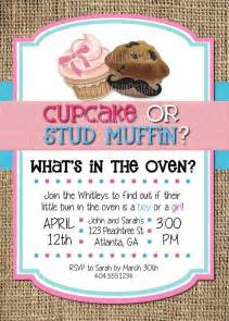 cupcake or stud muffin gender reveal invitation printable invitation 5x7 print at
