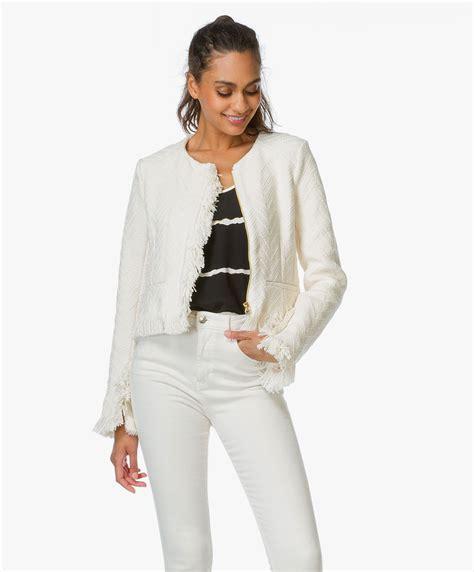 Kaos Offwhite White White 10 derek lam 10 crosby fringe jacket white tp61206cb
