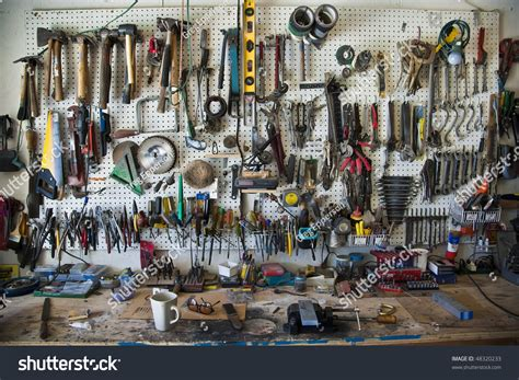its tools shop handtools organized on pegboard home shop stock photo