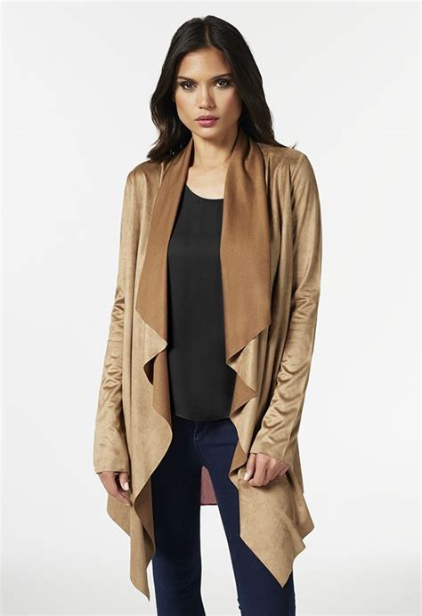 Suede Drape Jacket faux suede drape front jacket justfab