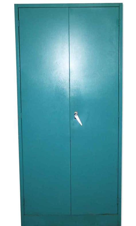 teal blue metal storage cabinet olde things