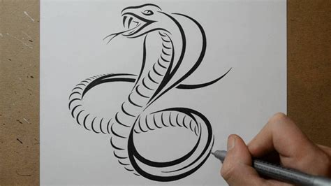 simple snake tattoo designs how to draw a cobra snake tribal design style