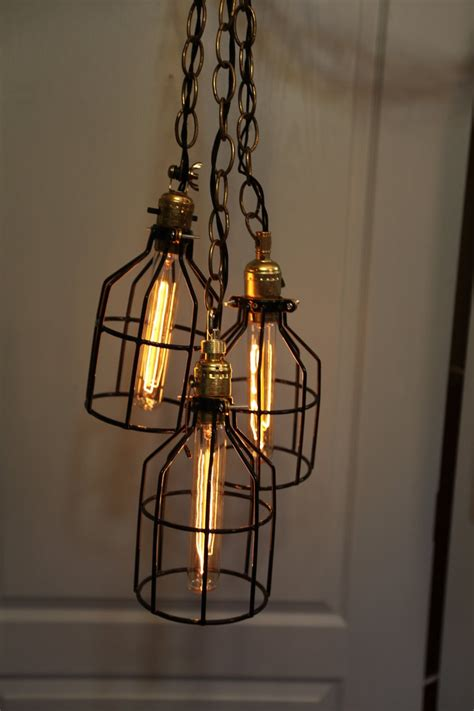 wire cage light fixtures industrial wire cage ls hanging lights via etsy diy