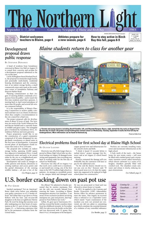 northern light blaine wa the northern light newspaper september 1 7 by point