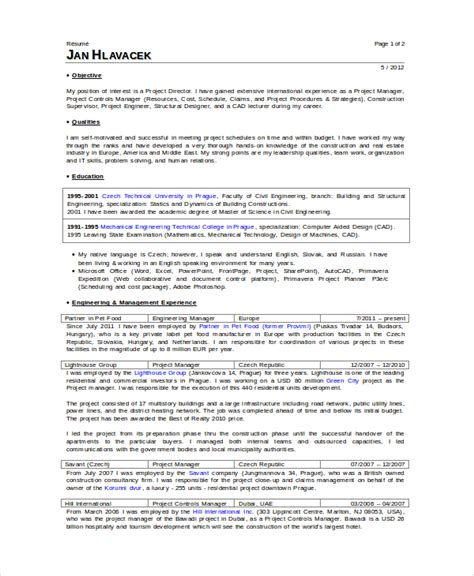 Construction Superintendent Resume Templates by Superintendent Resume Template 7 Free Word Pdf