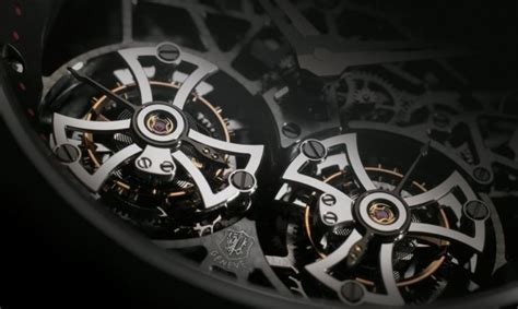 Roger Dubuis Excalibur Dual Tourbillon Black sihh 2012 roger dubuis excalibur skeleton flying tourbillon in black titanium perp 233 tuelle