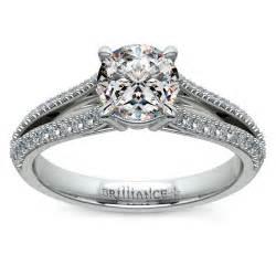 split shank engagement ring in platinum