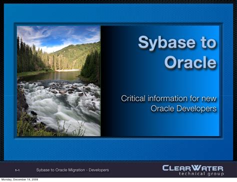 Sybase Developer by Sybase To Oracle Migration For Developers