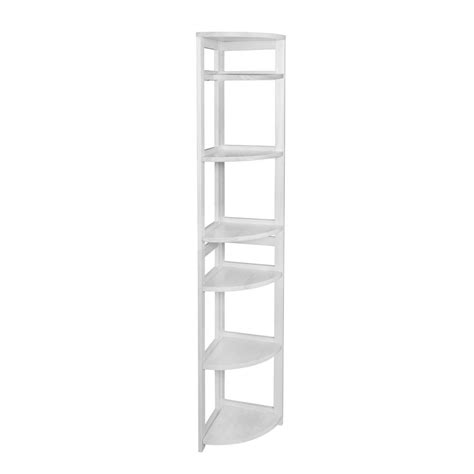 folding bookcase white niche flip flop white 6 shelf corner folding bookcase ffc6712wh the home depot