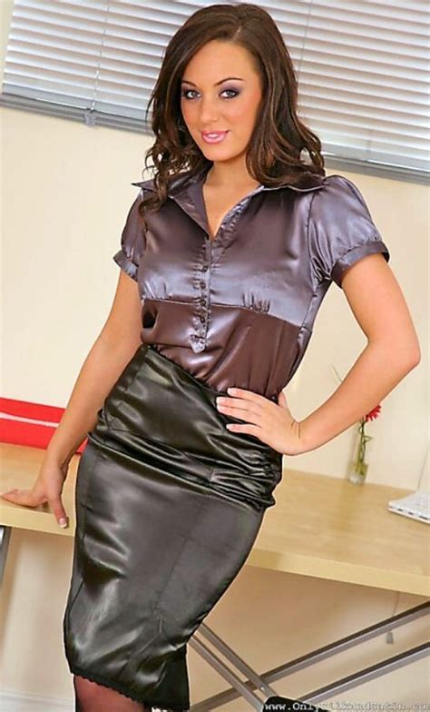 More Satin Looks by Add A Puff Sleeve Satin Blouse To A Tight Fitting Satin