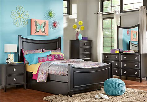Teen Bedroom Furniture Sets Jaclyn Place Black 5 Pc Full Bedroom Bedroom Sets Black
