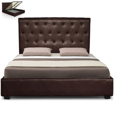 Lit Marron by Lit Capitonn 233 Marron Simili Reva Couchage 140 X 190 Cm