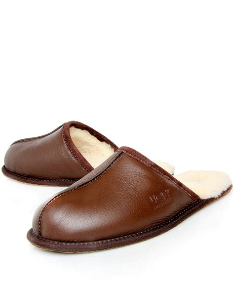 ugg leather slippers for ugg brown scuff leather slippers in brown for lyst