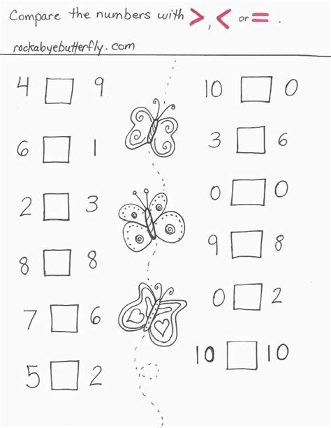 printable math worksheets less than greater than greater than less than worksheets 1 20 greater than less