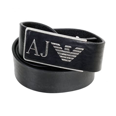 black leather belt with logo buckle from armani