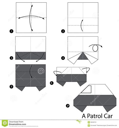 How To Make A Paper Car Origami - step by step how to make origami a patrol car