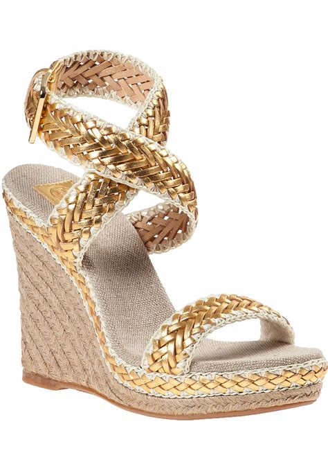 Wedges Gloss Gold lyst burch lilah wedge espadrille gold leather in
