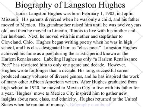 biography on langston hughes for students mother to son grade 9