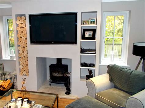 Tall Narrow Vases Alcove Space In A Chimney Breast Modern Living Room