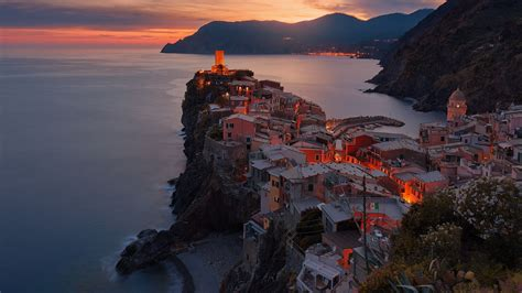 vernazza italy sea  mountains nature landscape full hd