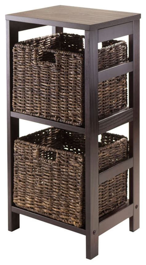 3pc storage 2 sect shelf with 2 small baskets modern