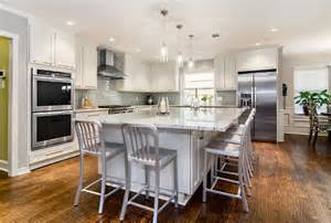 eat in island kitchen large eat in island transitional kitchen dallas by hatfield builders remodelers
