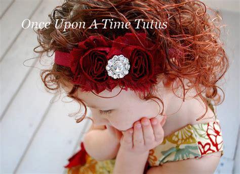maroon shabby flower headband winter shade photo prop newborn baby hairbow