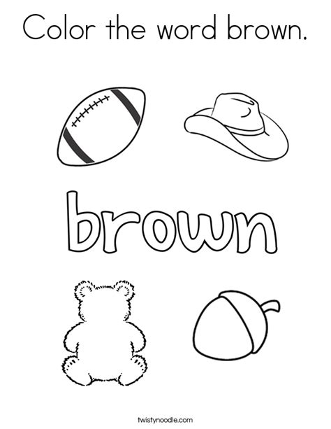 Colors Coloring Pages color the word brown coloring page twisty noodle
