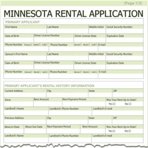 Rent Credit Form Minnesota Minnesota Rental Application