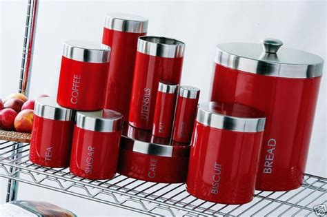 red kitchen canister sets ceramic canister set red reversadermcream com