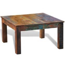 reclaimed wood coffee table square antique style vidaxl