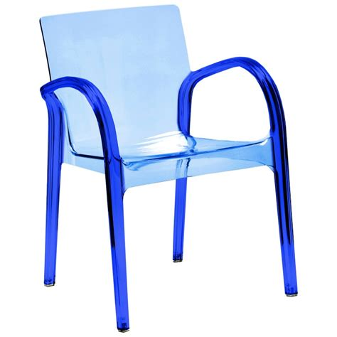 Blue Patio Chairs Dejavu Clear Plastic Arm Chair Blue Isp032 Patiofurniturechairs