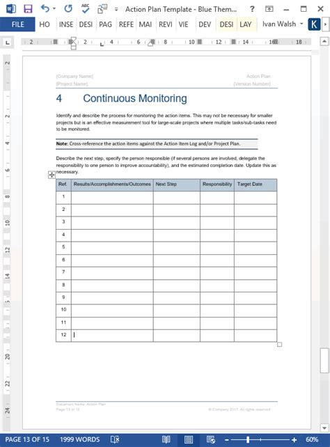 action plan template 14 page word template 7 excel