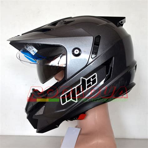 helm supermoto mds grey elevenia