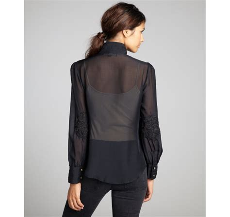 Mine Black Rosey Blouse winter kate black sheer embroidered mandarin collar silk blouse in black lyst