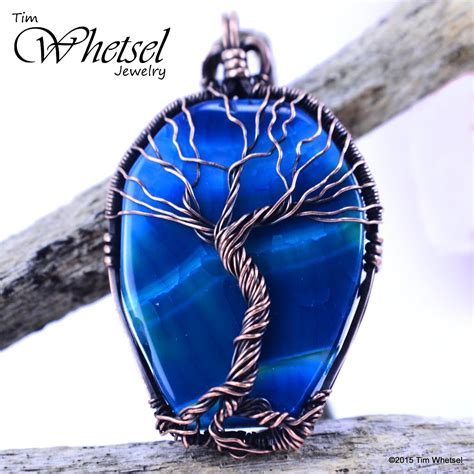 tree of necklace pendant blue agate wire wrapped