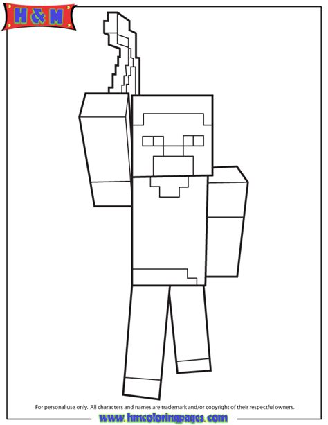 minecraft herobrine coloring coloring pages