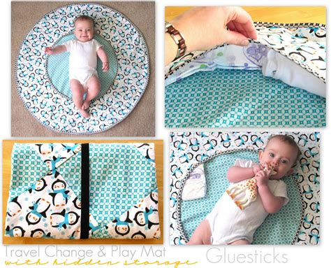 Handmade Things For Newborn Baby - travel changing and playtime mat tutorial gluesticks