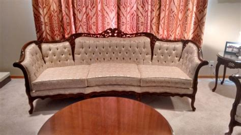 french provincial reproduction sofa and chair set by