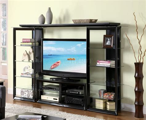 entertainment shelving units gloss black modern entertainment wall unit wglass shelves