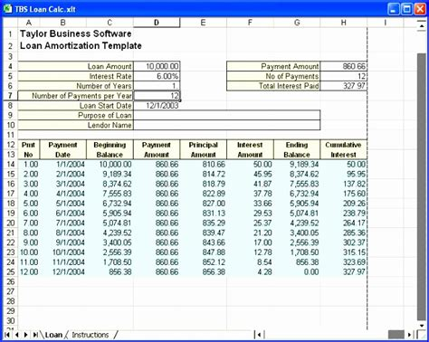 microsoft excel amortization schedule template