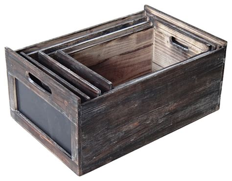 wooden chalkboard crates set of 4 traditional