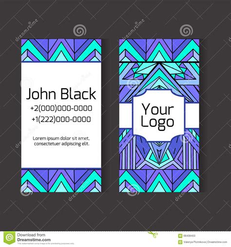Business Cards For Volunteers 2 Sided Template by Template Two Sided Business Card With Ethno Pattern Stock